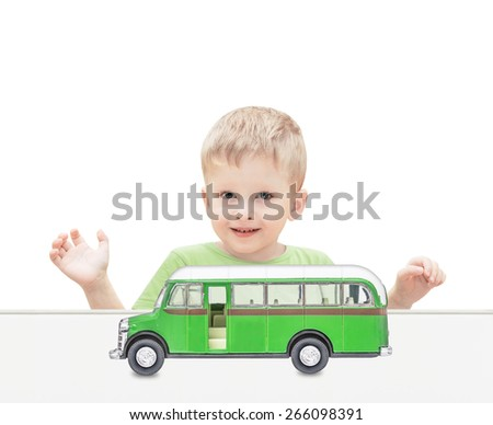 The child plays the bus isolated on the white - stock photo