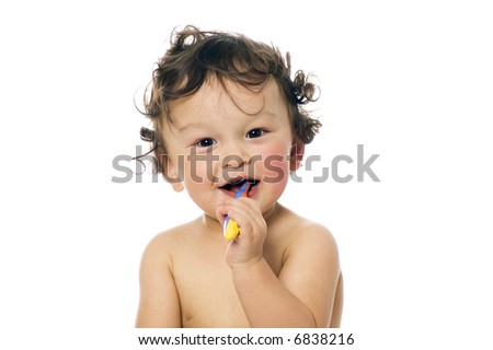 The child study to clean a teeth - 18 months
