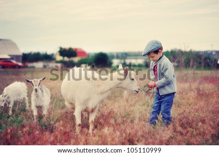 the child with a goat - stock photo
