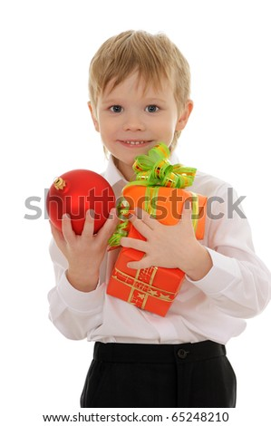 The child with gifts isolated on white background - stock photo