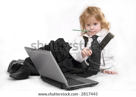 The child with notebook - stock photo
