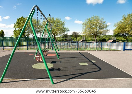 The children playground with different attractions - stock photo