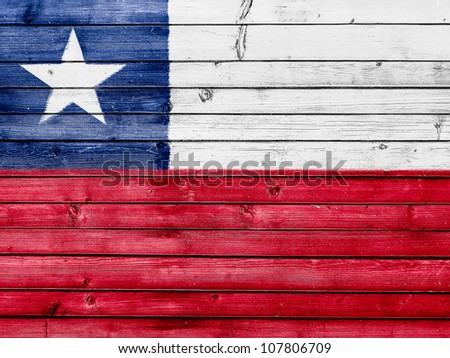 The Chile flag painted on wooden fence - stock photo