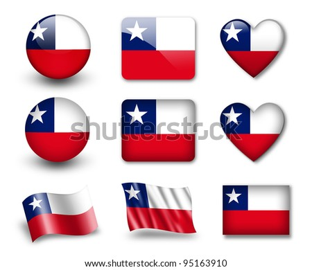The Chile flag - set of icons and flags. glossy and matte on a white background. - stock photo