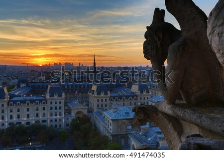 The Chimeras of Notre Dame watching the sunset in Paris