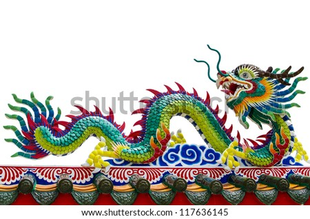 The Chinese dragon on the roof with isolated on withe