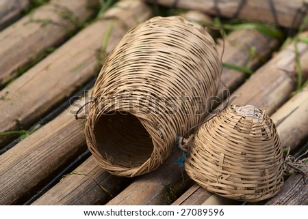 The Chinese fish people commonly used catch fish fish basket - stock photo