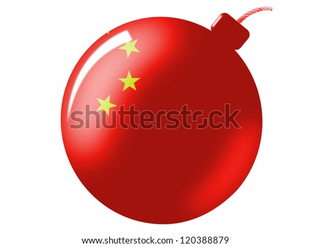 The Chinese flag painted on  bomb icon - stock photo