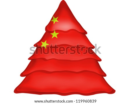 The Chinese flag painted on  Christmas xmas tree icon - stock photo