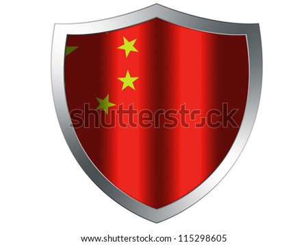 The Chinese flag painted on  protection shield - stock photo