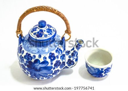The chinese teapot on the white background