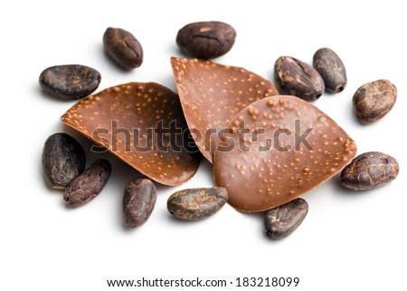 the chocolate chips with cocoa beans - stock photo