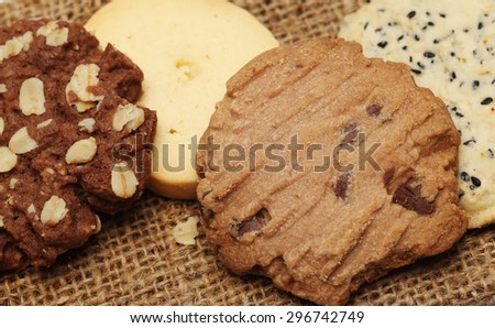 The chocolate cookies on sack set for relax and break from meeting. Close up Concept - stock photo