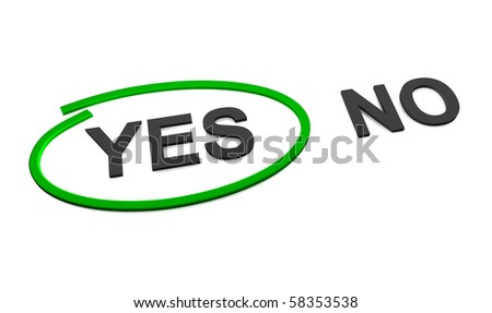 The choice between yes or no, marked yes - stock photo