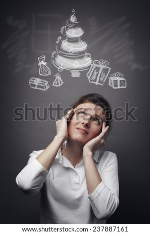 The choice of gifts for Christmas (concept) - stock photo