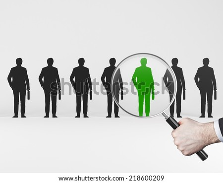 The choice of the best suited employee. HR, HRM, HRD ,CRM concepts.  - stock photo