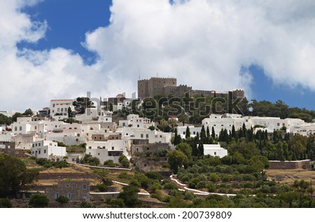 The Chora and Saint John Theologos monastery at Patmos island in Greece - stock photo