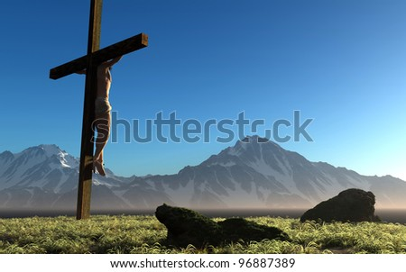 The Christ on a background of the sky - stock photo