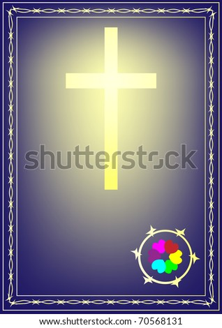 The Christian cross shone from within with the press from hearts. It is surrounded by a blackthorn. - stock photo