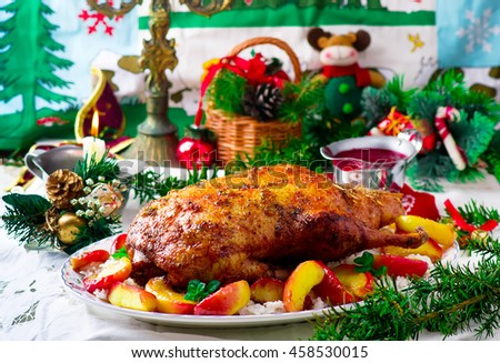 the Christmas baked duck  with apples. vintage style.