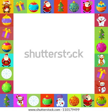 The christmas border - frame - patchwork - different elements - square frame - stylish - elegant - space for text - happy and cheerful illustration for the children