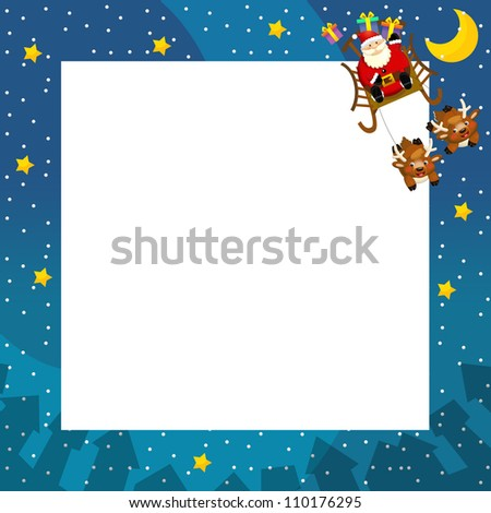 The christmas border - santa on the sledge flying - square frame - stylish - elegant - space for text - happy and cheerful illustration for the children v 2