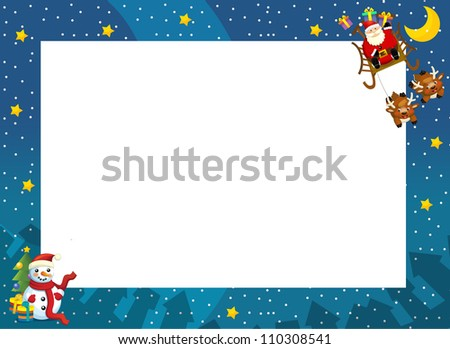 The christmas border - santa on the sledge - square frame - stylish - elegant - space for text - happy and cheerful illustration for the children v 2