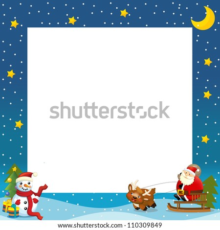 The christmas border - santa on the sledge - square frame - stylish - elegant - space for text - happy and cheerful illustration for the children v 2 - stock photo