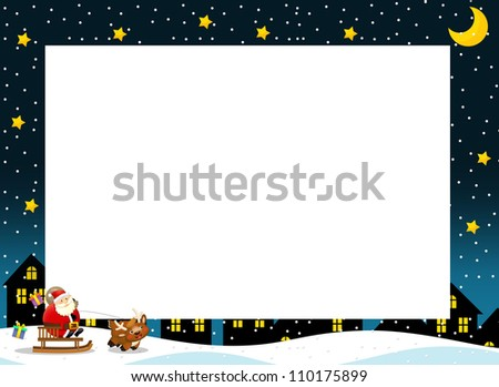 The christmas border - square frame - stylish - elegant - space for text - happy illustration for the children