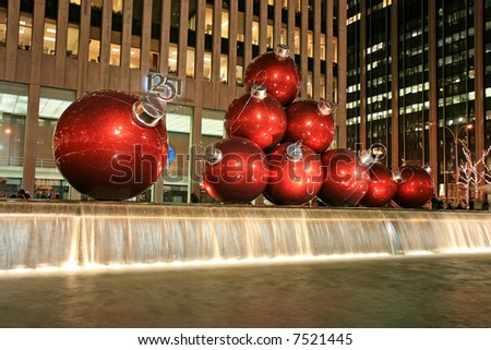 The Christmas decorations in Midtown Manhattan NYC - stock photo
