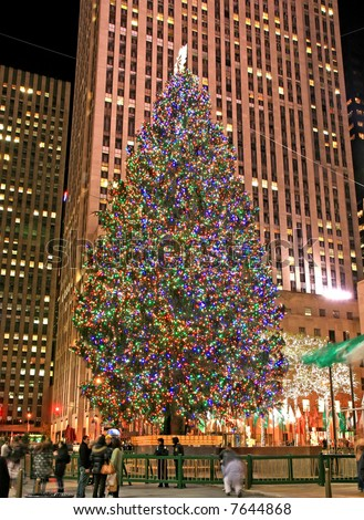 The Christmas decorations in The Rockefeller Center NYC - stock photo