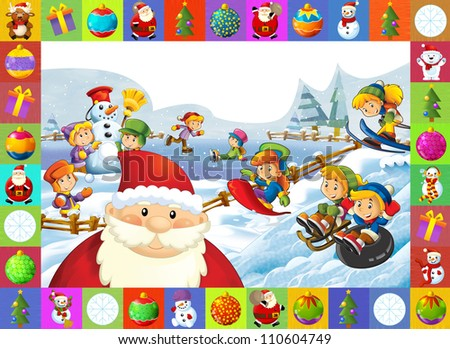 The christmas frame with lot of elements - patchwork - illustration for the children 2 - stock photo