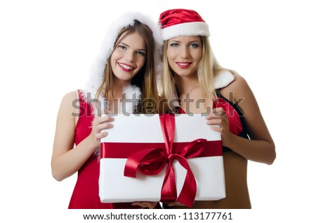 The Christmas girl with boxes of gifts - stock photo