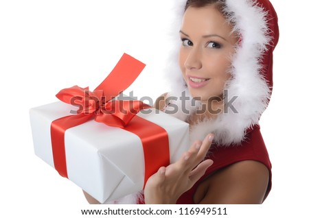 The Christmas girl with boxes of gifts