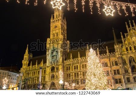 The christmas market on the Marienplatz in Munich - stock photo