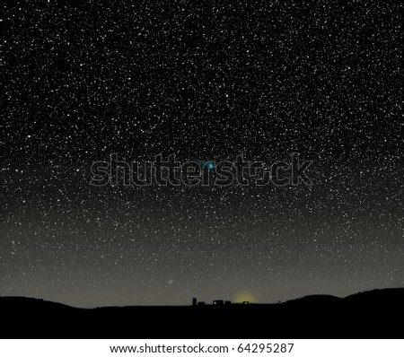 The Christmas star? Nativity scene using a real photograph of the night sky. - stock photo