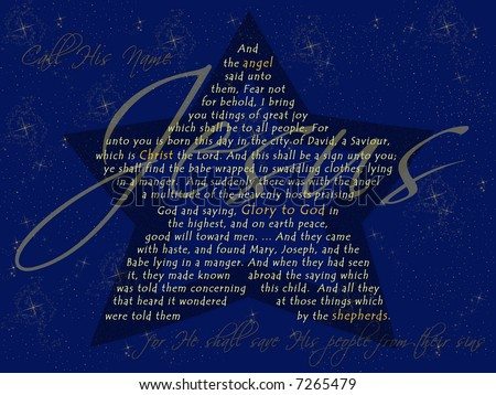 The Christmas Story from Luke 2 on a starry night background in the shape of the Christmas Star