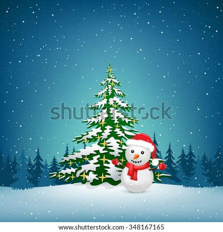 The Christmas tree and snowman on the winter forest background - stock photo