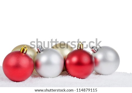 The christmas tree ball in snow isolated - stock photo