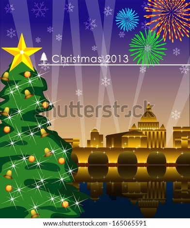 The Christmas Tree in the celebration night. Vector Illustration, EPS 10  - stock photo