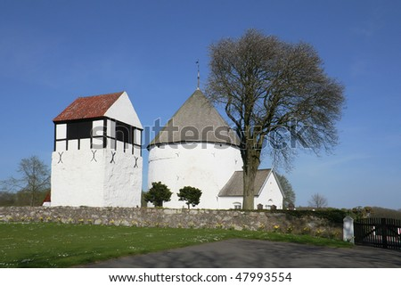"The church at Nylars, the oldest ""round church"" on the island Bornholm, Denmark."