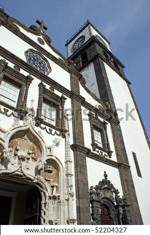 The church Igreja Matriz de Sao Sebastiao in Ponta Delgada on the island of Sao Miguel - stock photo