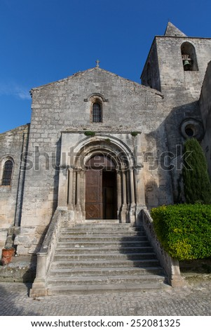 the church in baux de provence in france
