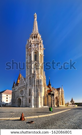 The Church in the Fisherman's Bastion in the sun - stock photo
