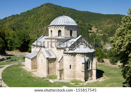 The church in the orthodox monastery Gradac in Serbia. Gradac Monastery is located in Golija tourist region, and near the tourist center Kopaonik. - stock photo