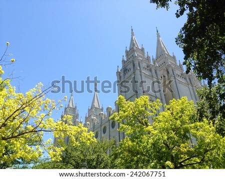 The Church of Jesus Christ of Later Day Saints Temple. This is the Salt Lake City, Utah temple. - stock photo