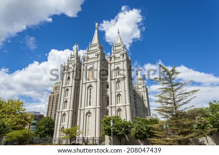 The Church of Jesus Christ of Latter-day Saints' Temple, Salt Lake City, Utah  - stock photo