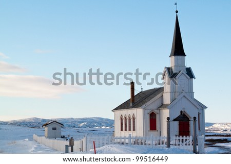 The church of Nesseby, Norway, one of the northernmost of Europe built in 1858 - stock photo