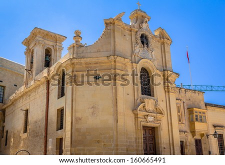 The Church of Our Lady of Victory is considered to be the first building completed in Valletta. - stock photo