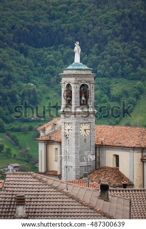 The church of San Colombano in little village Parzanica, Italy